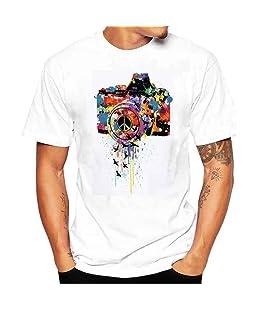 ADESHOP Mode New 2018 Hommes Impression T-Shirts Chemise à Manches Courtes T-Shirt Blouse Hommes Col Rond Couleur Pure DéContractéE Tops ÉLasticité VêTements (M, Blanc)