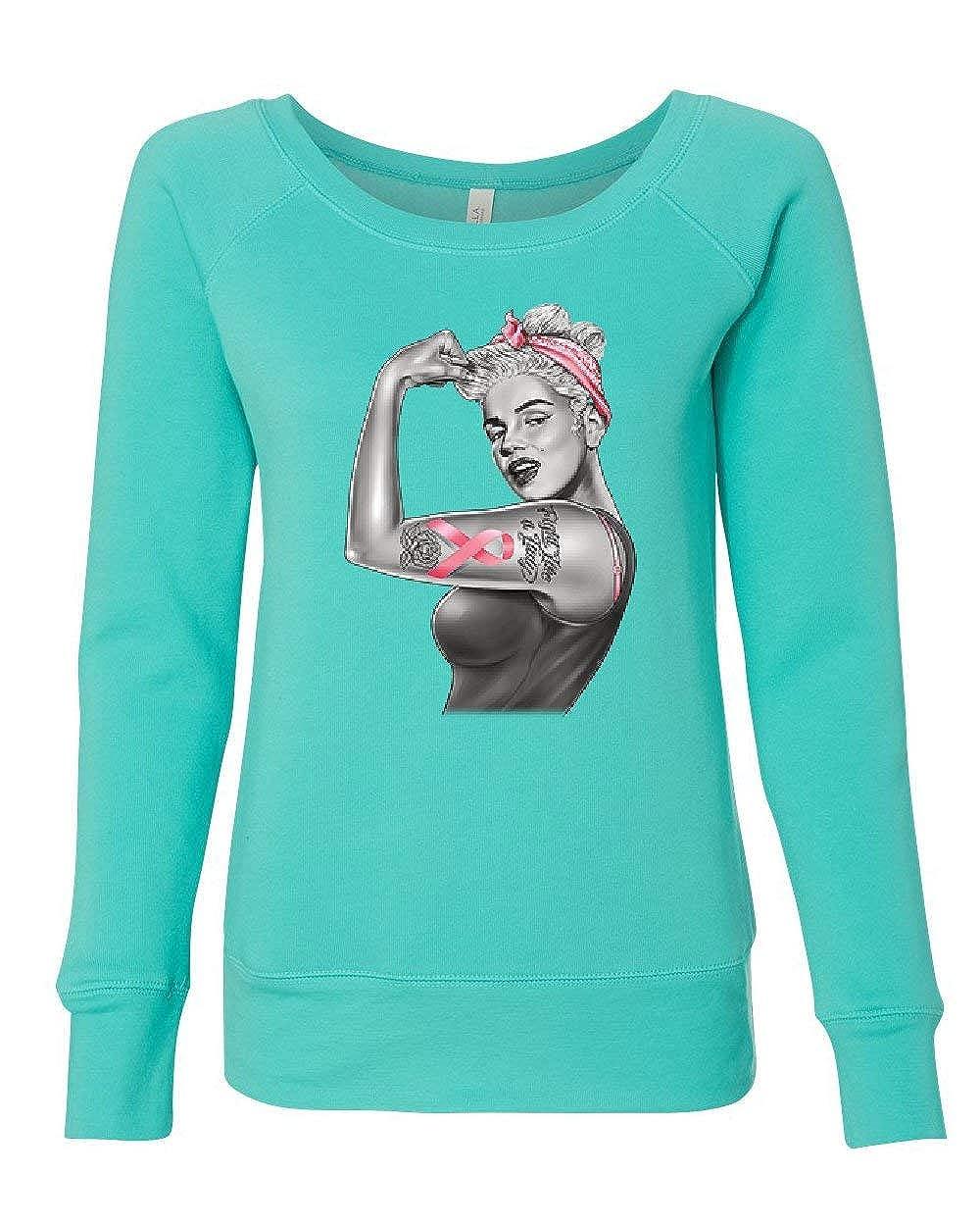 Pinup Marilyn Monroe Pink Ribbon Womens Sweatshirt Breast Cancer Awareness
