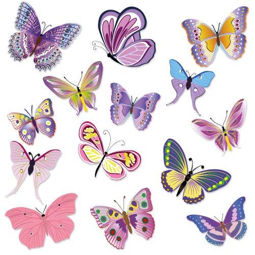 Wandkings WS-50002 - Set di adesivi da parete, farfalle, 14 adesivi, 2 fogli DIN A4, superficie totale 60 x 20 cm WS-50002-DINA4