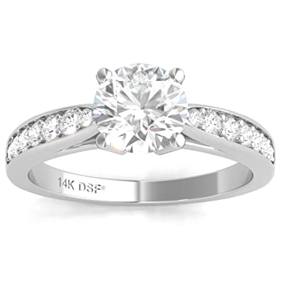 13f6710ff Diamond Studs Forever 14ct White Gold 1.2ct Total Weight Diamond Engagement  Ring GH/I1: Amazon.co.uk: Jewellery