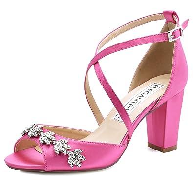8110d04f802 ElegantPark HP1905 Women Peep Toe Block High Heel Sandals Strappy  Rhinestones Satin Bridal Wedding Evening Prom