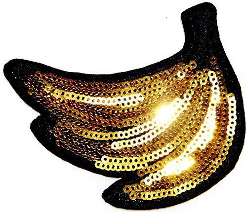 Banana Fruit Sequin Shine Shiny Patch Sew Iron on Embroidered Applique Craft Handmade Baby Kid Girl Women Sexy Lady Hip Hop Cloths DIY -