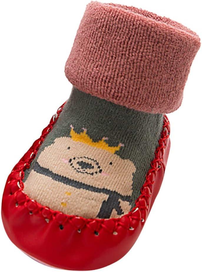 Shan-S Newborn Infant Floor Socks Baby Boys Girls Cute Cartoon Thick Winter Warm Anti-Slip Shoes Socks Indoor Moccasins Soft Cozy Non-Skid Slipper