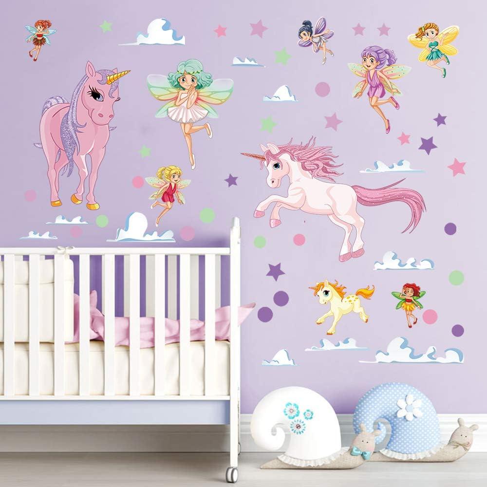 decalmile Unicorn Wall Sticker Rainbow Princess Castle Wall Decal Art Girls Bedroom Baby Nursery Kids Room Wall Decor