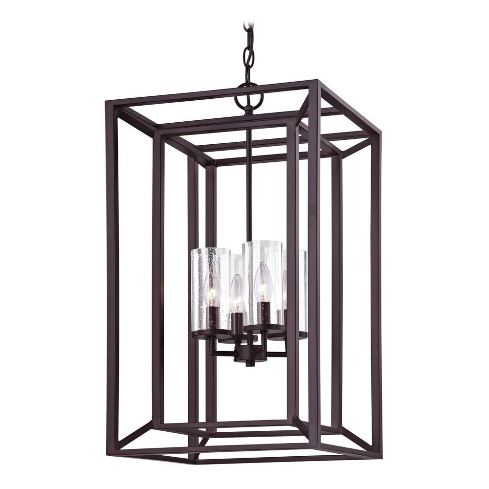 Seeded Glass Chandelier with Rectangle Cage Frame Bronze 4-Lt