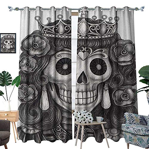 RenteriaDecor Queen Window Curtain Drape Day of The Dead Artwork Hand Drawing Folk Skull with Flowers Crown Ornaments Decorative Curtains for Living Room W96 x L108 Black and White]()