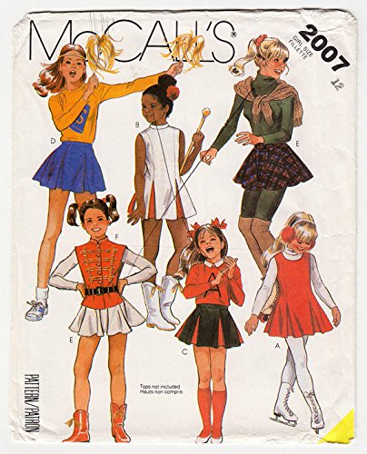 Costumes Majorette Vintage (McCall's 2007 Girls Cheerleader, Drill Team, Majorette or Ice Skating Costume - Size 7 - Vintage Sewing)