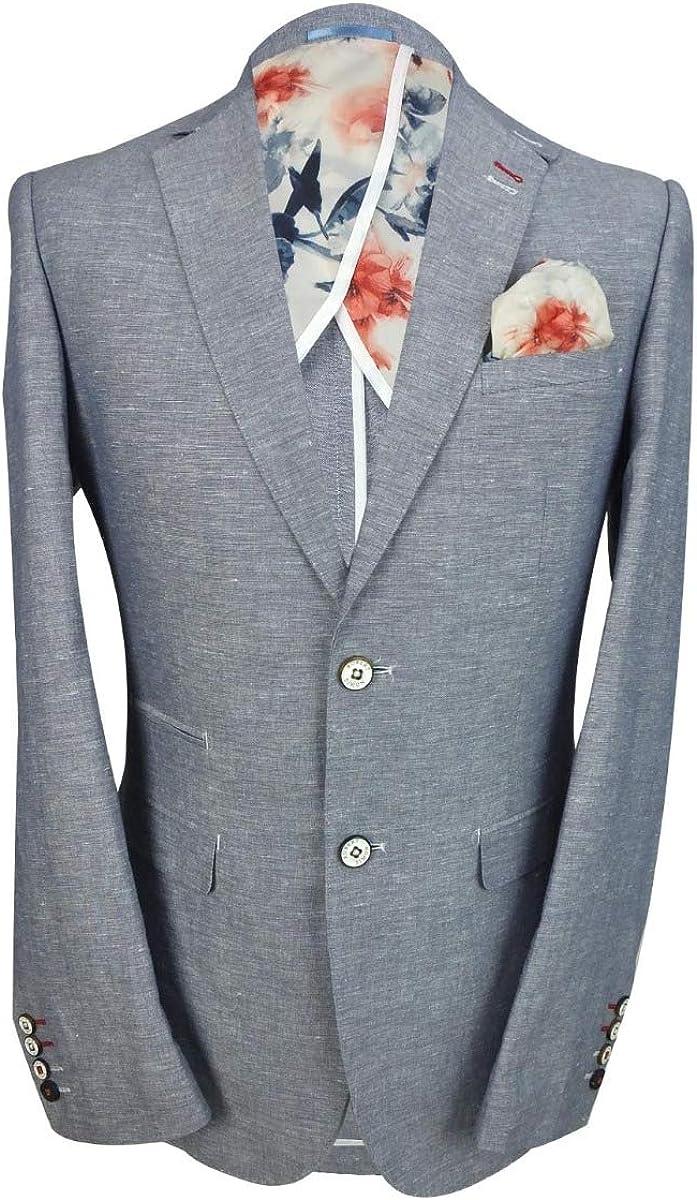 Robert Simon Mens Slim Fit Formal Linen Blazers