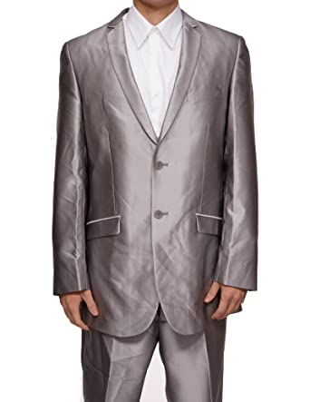 cc5b88d0f29d New Mens Silver Slim Fit Sharkskin 2 Button Dress Suit (Jacket & Pants).  Roll over image to zoom in. New Era Factory Outlet
