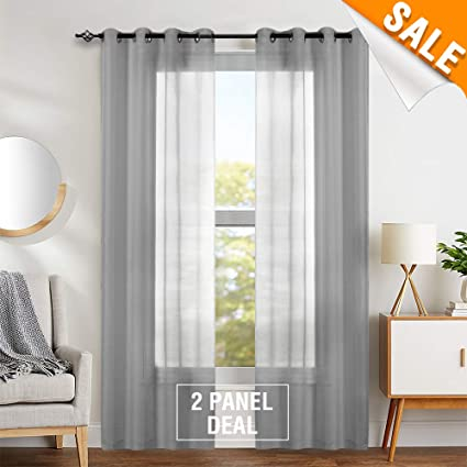 Grey Sheer Curtains 84 inch Bedroom Window Curtain Set Living Room Sheers  Voile Drapes for Kitchen 2 Panels