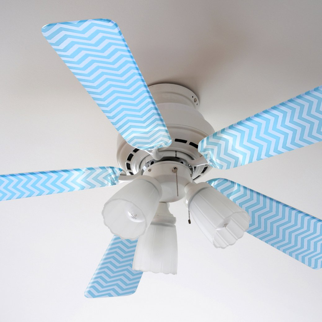 Fancy Blade Ceiling Fan Accessories Blade Cover Decoration, Blue Chevron