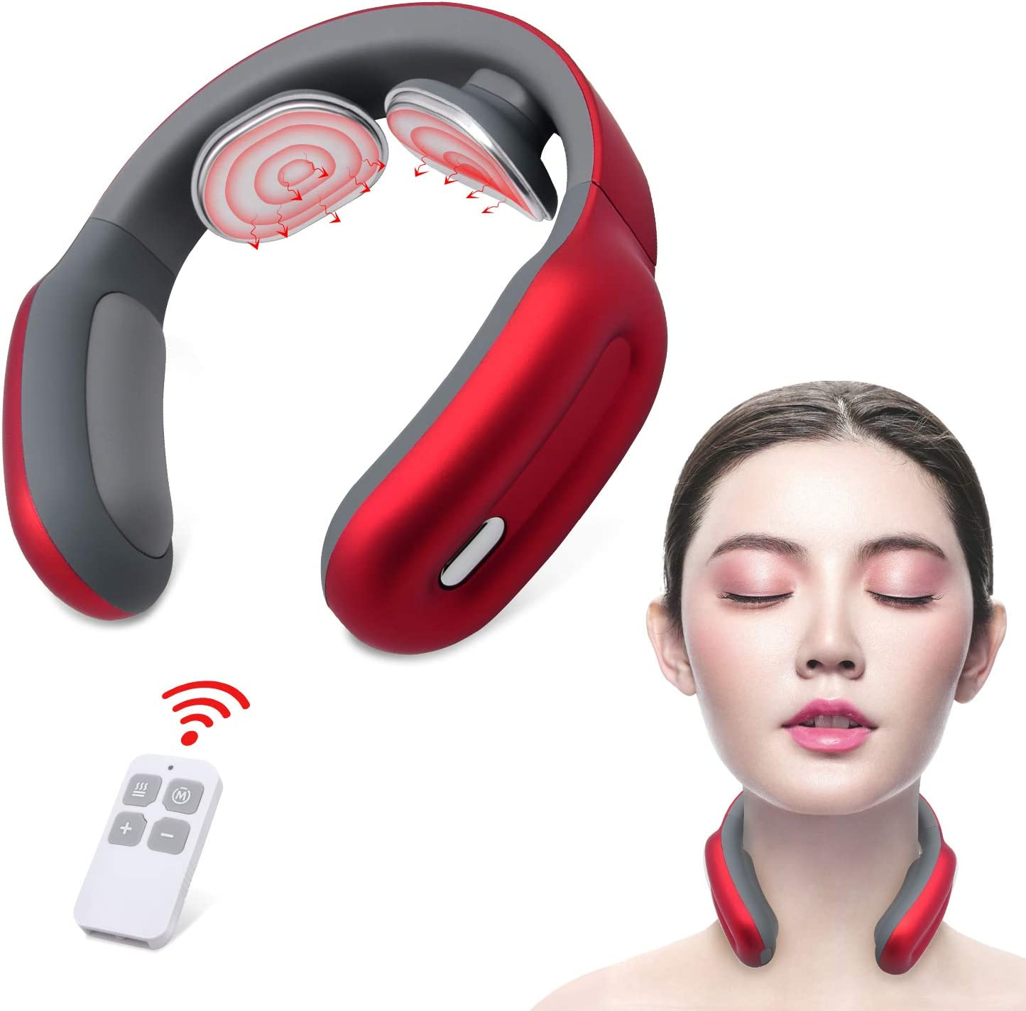 Neck Massager, Intelligent Neck Massage with Heat, Smart Cordless Deep Tissue Trigger Point with 3 Modes 15 Intensities, Ideal Gift for Friends and Family Used at Office, Home, Sport, Travel