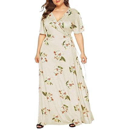 Amazon.com: Women Wrap Tie Maxi Dress - Ladies Plus Size ...