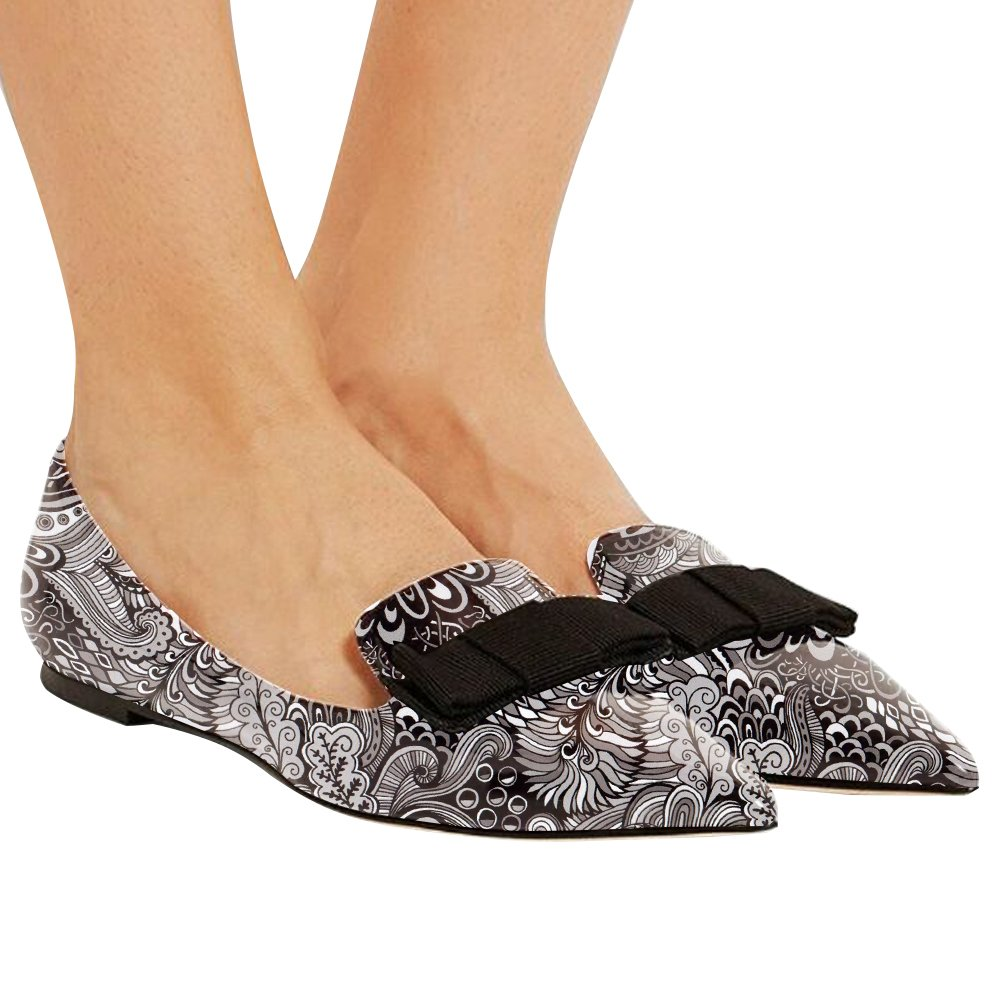 Eldof Women's Flats, Pointed Toe Flats Pumps, Patent Leather Flats Pumps, Walking Dress Office Classic Comfortable Flats B07DZW5VD8 6.5 B(M) US|Gray-flower