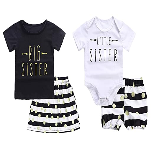 a46123abee96 Baby Girls Clothes Little Big Sister T-Shirt Romper + Polka Dot Striped  Skirts Short