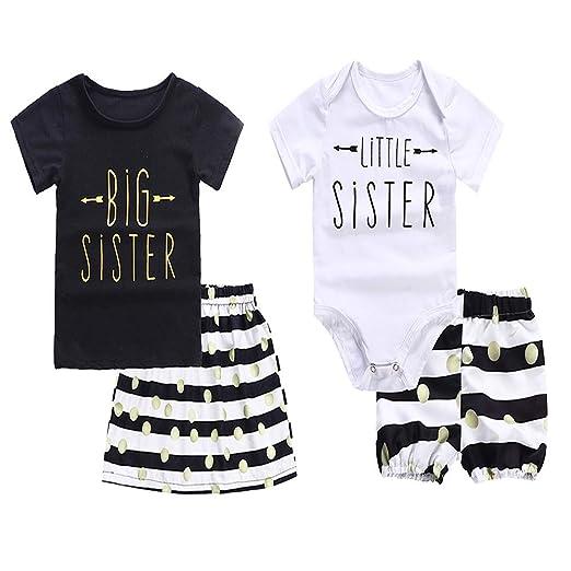 0c609771b946 Baby Girls Clothes Little Big Sister T-Shirt Romper + Polka Dot Striped  Skirts Short