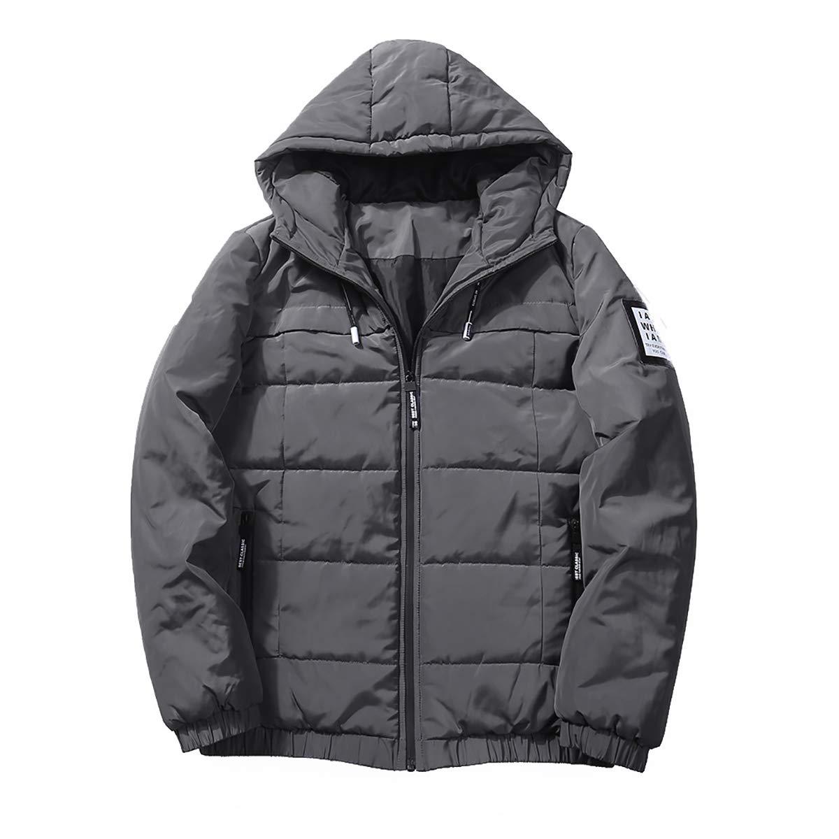 W& TT Addensare Piumino Men ' S Hooded Allentato All'aperto Caldo Protezione Fredda Cappotto di Cotone Luce, Gray, M [Classe di efficienza energetica A]