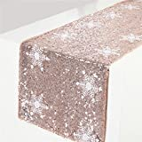"Christmas New Product TRLYC White Snowflake Pattern Rose Gold Sequin Table Runner-12""x120"""