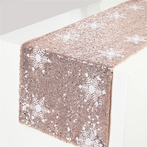 TRLYC Christmas White Snowflake Pattern Rose Gold Sequin Table Runner-12 x72 (Rose Christmas Decorations)