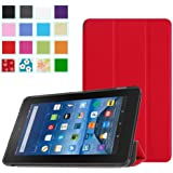 Fire 7 Case - LEDniceker Slim Folding Cover Stand for Amazon Fire Tablet, Ultra Lightweight (2015 Release Only, 7 inch Display, 5th Generation) (Red)