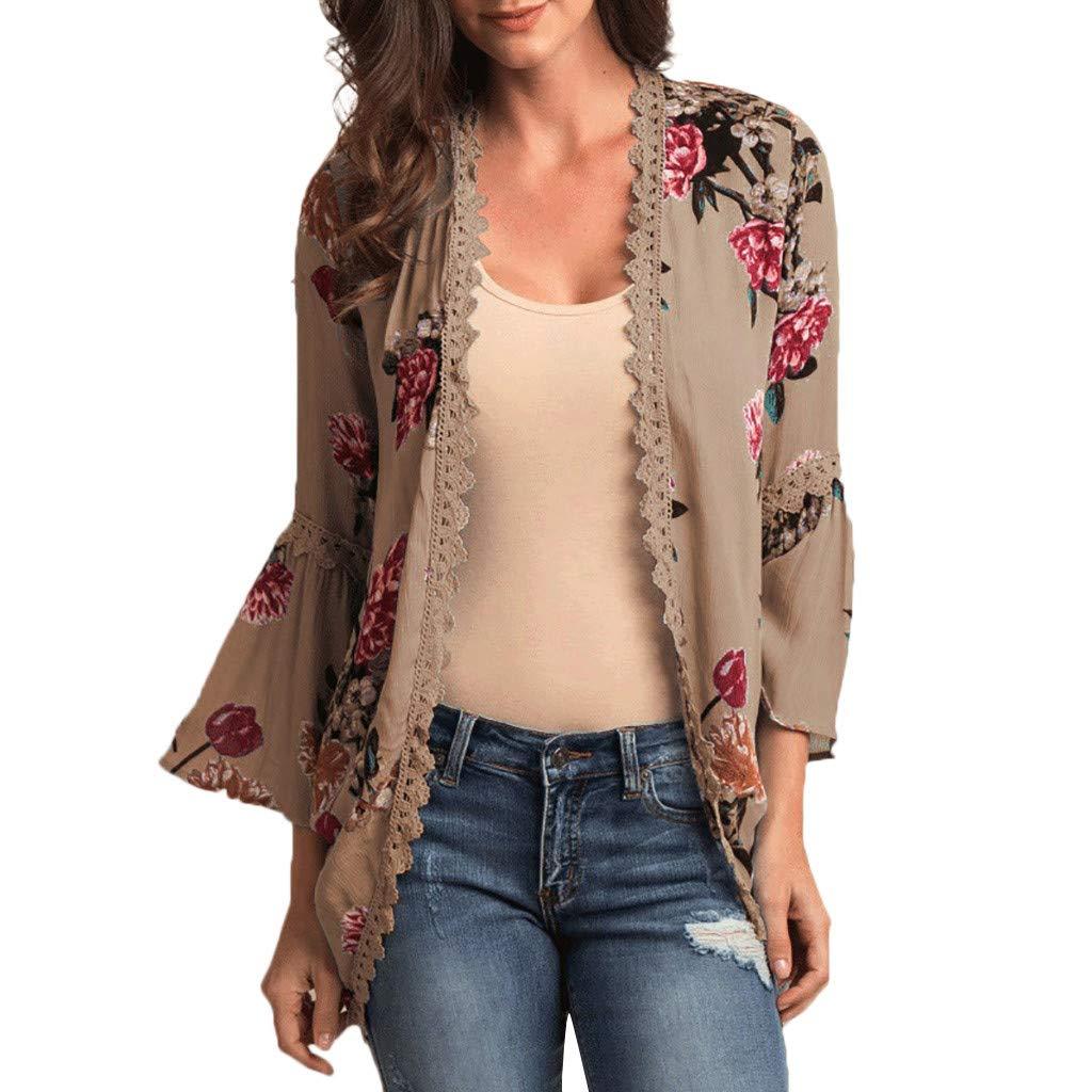 Womens Fashion Shawl Print Sleeve Lace Kimono Cardigan Cover Up Flare Sleeve Beachwear Blouse Top (Khaki,L2)