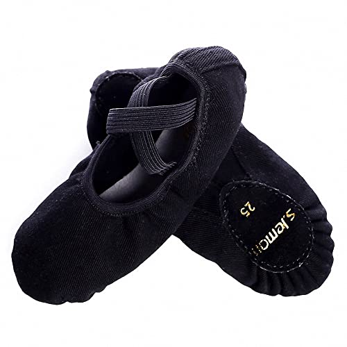99dc5607b2 s.lemon Durable Stretch Canvas Black Ballet Dance Shoes Slippers Flats Pumps  for Girls Toddlers