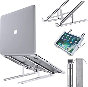 "Adjustable Laptop Stand, TAIHE Portable Laptop Holder Riser, Aluminum Alloy Ergonomic Foldable Notebook Computer Stand Compatible with MacBook Air, Dell, HP, Lenovo More 10-15.6"" Laptops"