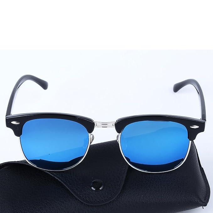 80fbf82f6c Classic Semi Rimless Sunglasses Polarized Clubmaster for Men and Women  (Blue)