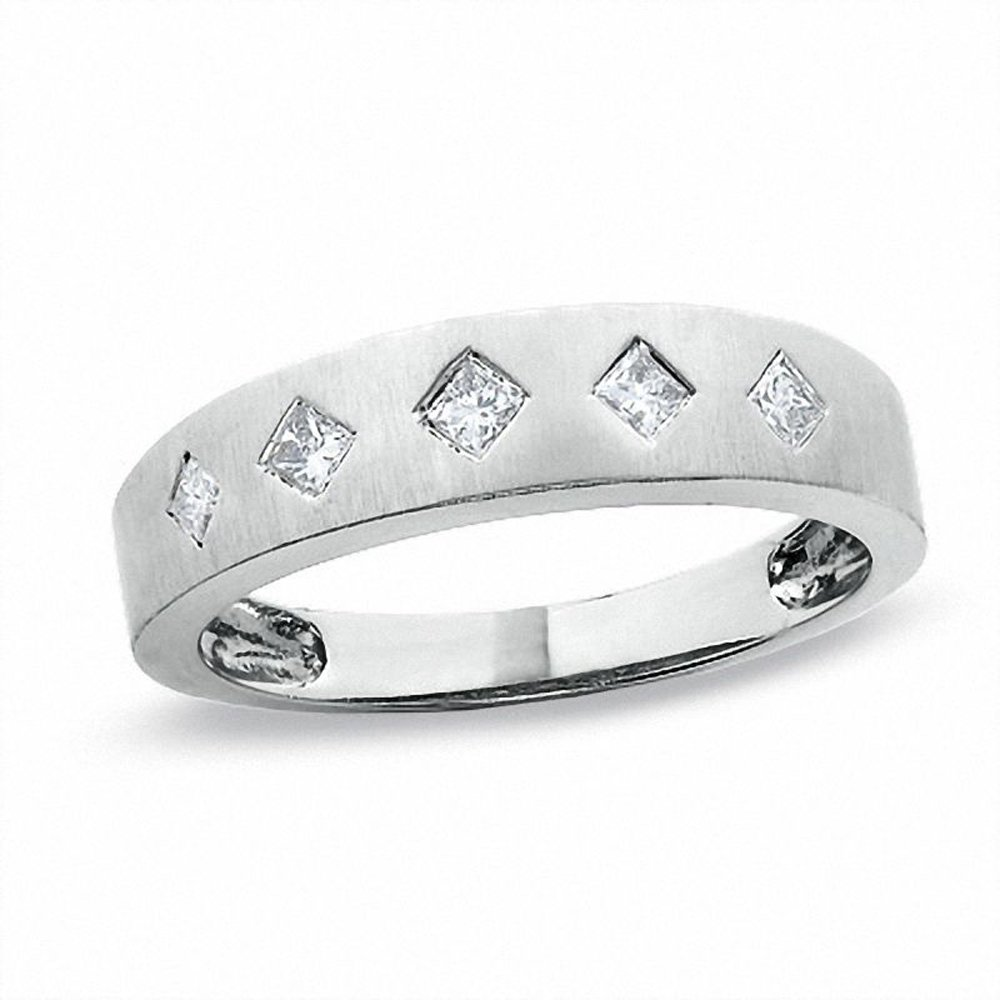 Silvernshine Jewels 0.2 Ct D/VVS1 CZ With 14Kt White Gold Fn Silver Princess-Cut Wedding Band Ring