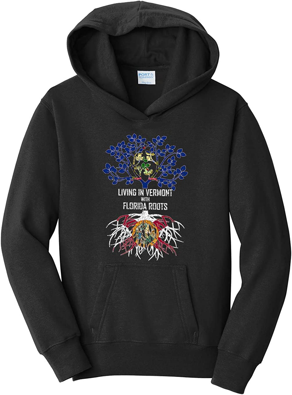 Tenacitee Girls Living in Vermont with Florida Roots Hooded Sweatshirt