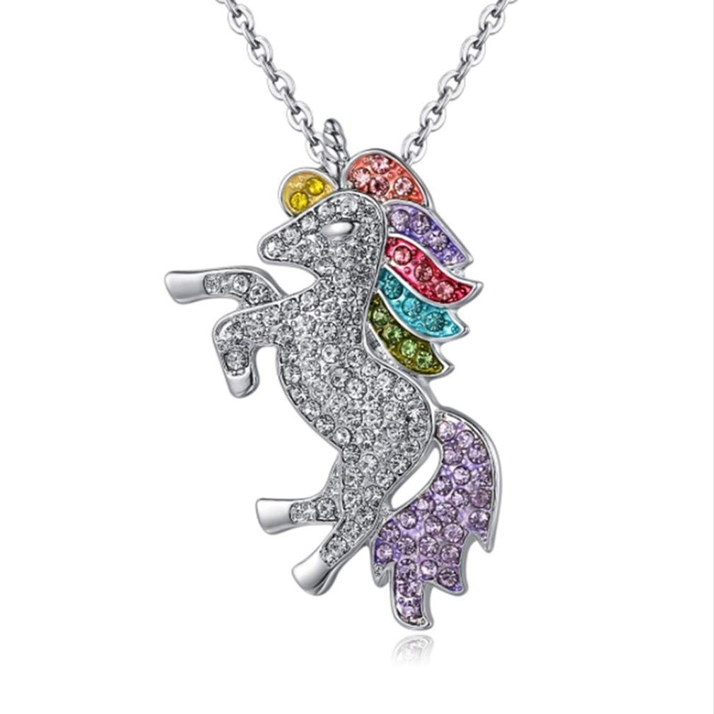 HENGSONG Unicorn Necklace Pendant Necklace With Message Card Chain Necklace Jewelry Gifts (Colorful 1#)