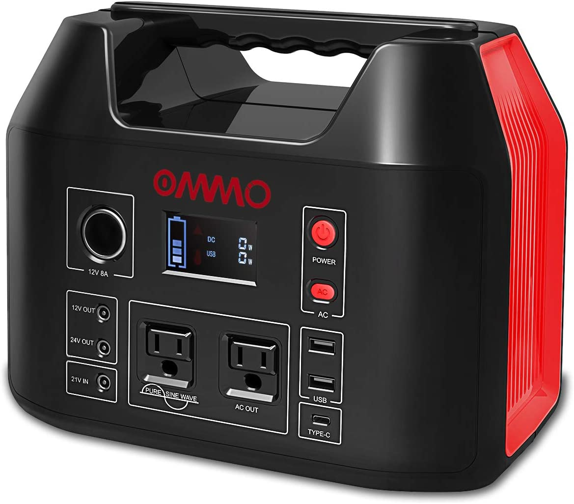 OMMO Portable Power Station, 555Wh Outdoor Solar Generator, 150000mAh Lithium Battery Pack with Pure Sine Wave 110V 500W AC Outlet, PD 60W for Camping, Power Cut, CPAP, Emergency