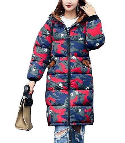 Mujer Invierno Largo Abrigo Capucha Camuflaje Impreso Acolchado Chaquetas Lindo Oreja de Oso Grueso ...