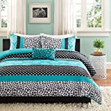 4 Piece Multi Teal Cheetah Print Comforter Queen Set, Beautiful Damask Themed Bedding, Stripe Patterned Design, Adorable Polka Dots Print, Elegant Contemporary Style, Vibrant Blue Black White
