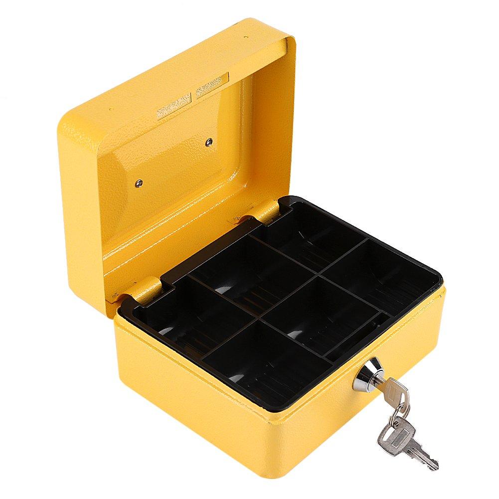 Eboxer Caisse à Monnaie Mini Coffre-Fort Portable Caisse Sécurité en Acier Inoxydable Boîte de Rangement Serrure à Clé pour Stocker Argent/Monnaie/ Bijoux etc. (Rose)