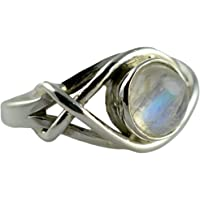Navya Craft 925 Plata de Ley Sólida Rainbow Moonstone Anillo de Mujer Hecho a Mano Tamaños 4 a 31 ES