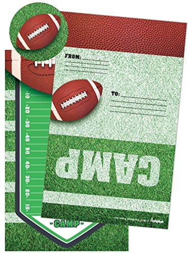 iscream Football Camp Pack of 8 Fold-over Cards with Flip Sticker Seals (Pack Stationery)