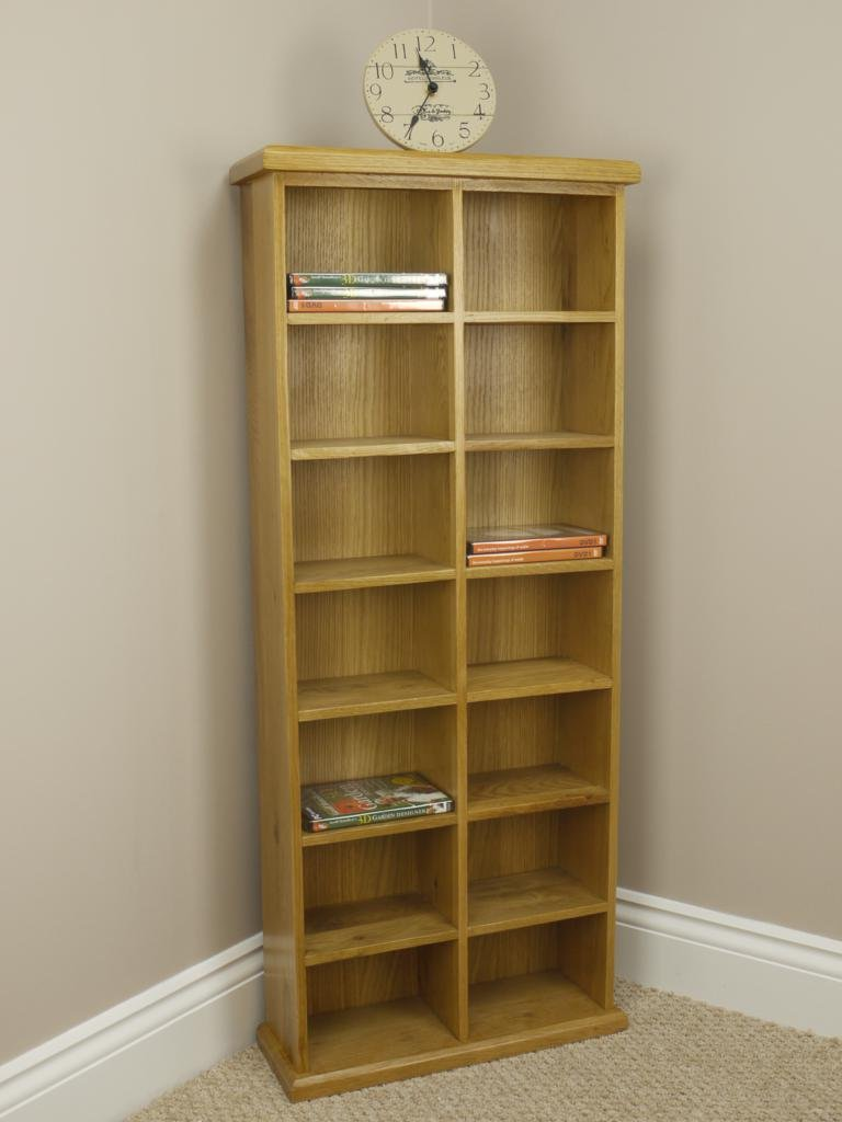 OAKLAND   CHUNKY OAK CD / DVD STORAGE UNIT TALL WIDE DOUBLE RACK TOWER  SOLID WOOD: Amazon.co.uk: Kitchen U0026 Home