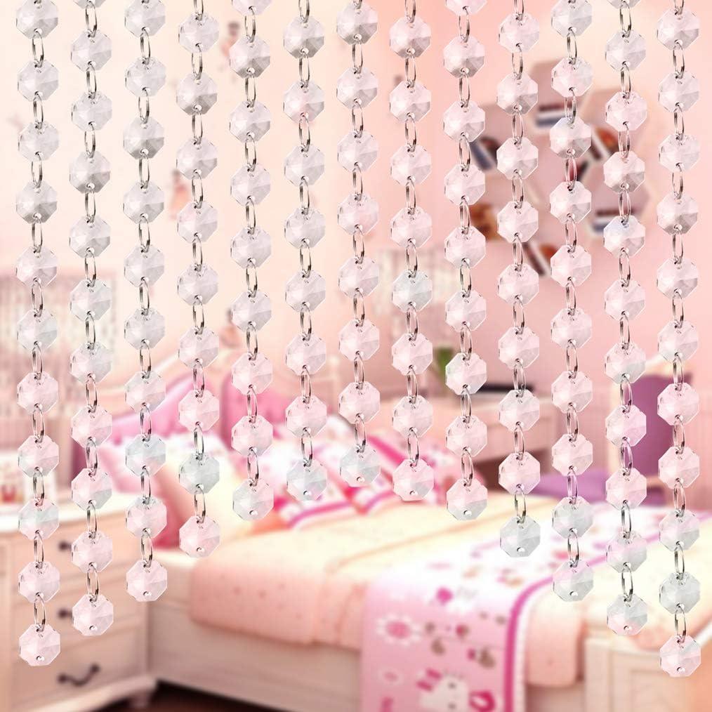 obmwang 32.8 Feet Acrylic Crystal Gems Bead Clear Octagon Chain Garland Crystals Tree Garlands Chandelier Beads