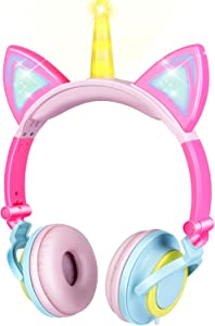 GBD Unicorn Kids Cat Ear Headphones for Girls Boys Toddlers Tablet School Supply Gifts,Light Up Wired Kids Pink Headphones Over On Foldable Ear Game Headset Travel Holiday Birthday Gifts
