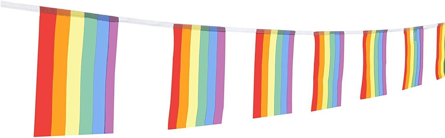"TSMD 100 Feet Rainbow Flag LGBT Pride Flag 76Pcs Indoor/Outdoor Human Rights Gay Lesbian Pride Flag Decorations(8.2"" x 5.5'')"