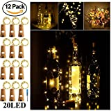 Wine Bottle Lights with Cork - SurLight Cork Lights for Bottle 12 Pack 6.5ft 20 LED Bottle Lights Battery Powered Christmas String Lights for Party Halloween Wedding Christmas (Warm White Silver Wire)