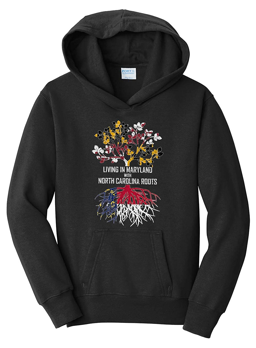 Tenacitee Girls Living in Maryland with North Carolina Roots Hooded Sweatshirt
