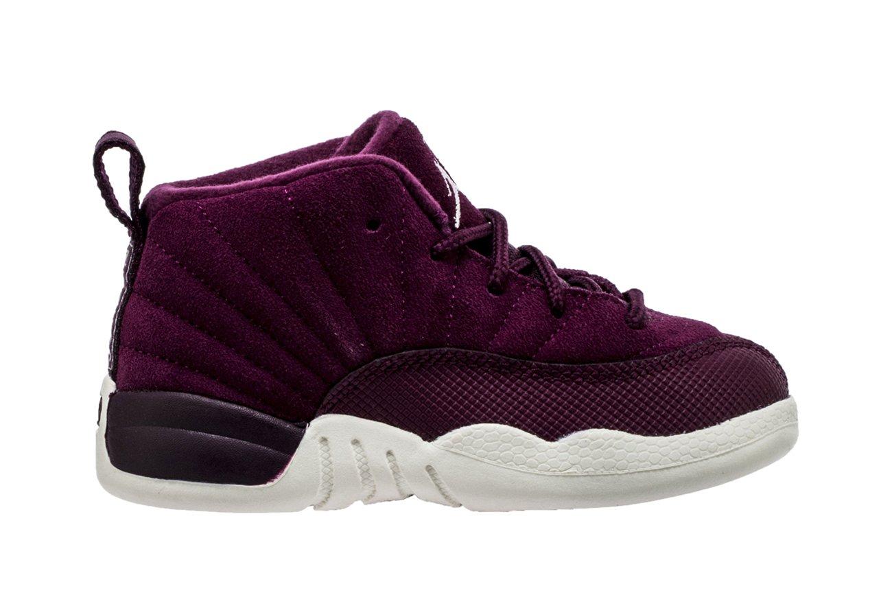 Nike Air Jordan 12 Retro BT Toddler's Basketball Shoes Bordeux/Sail-Metallic Silver, 7