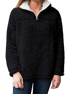 VENCANN Womens Casual 1//4 Zip Fuzzy Fleece Warm Pullover Sweatshirt Tops Coat
