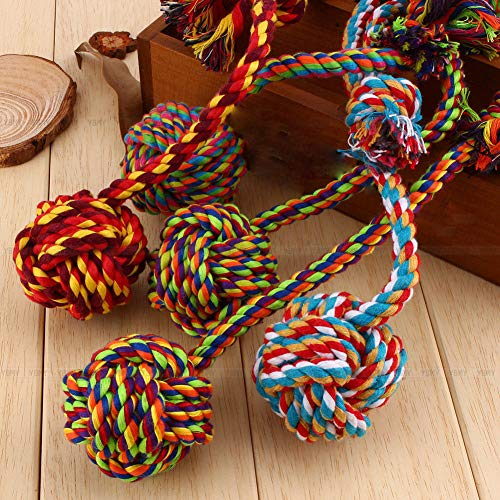 (Bazzano New Pet Knot Chew Toy Lovely Puppy Dog Cotton Braided Bone Rope Color)