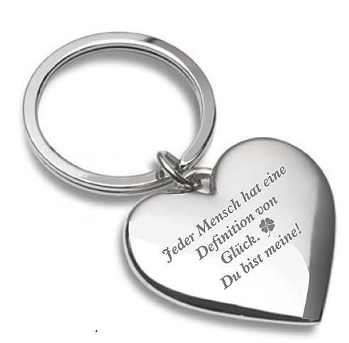 Schlüsselanhänger Herz Silberglänzend Mit Gravur U0026quot;Jeder Mensch Hat  Eine Definition Von Glück. Du