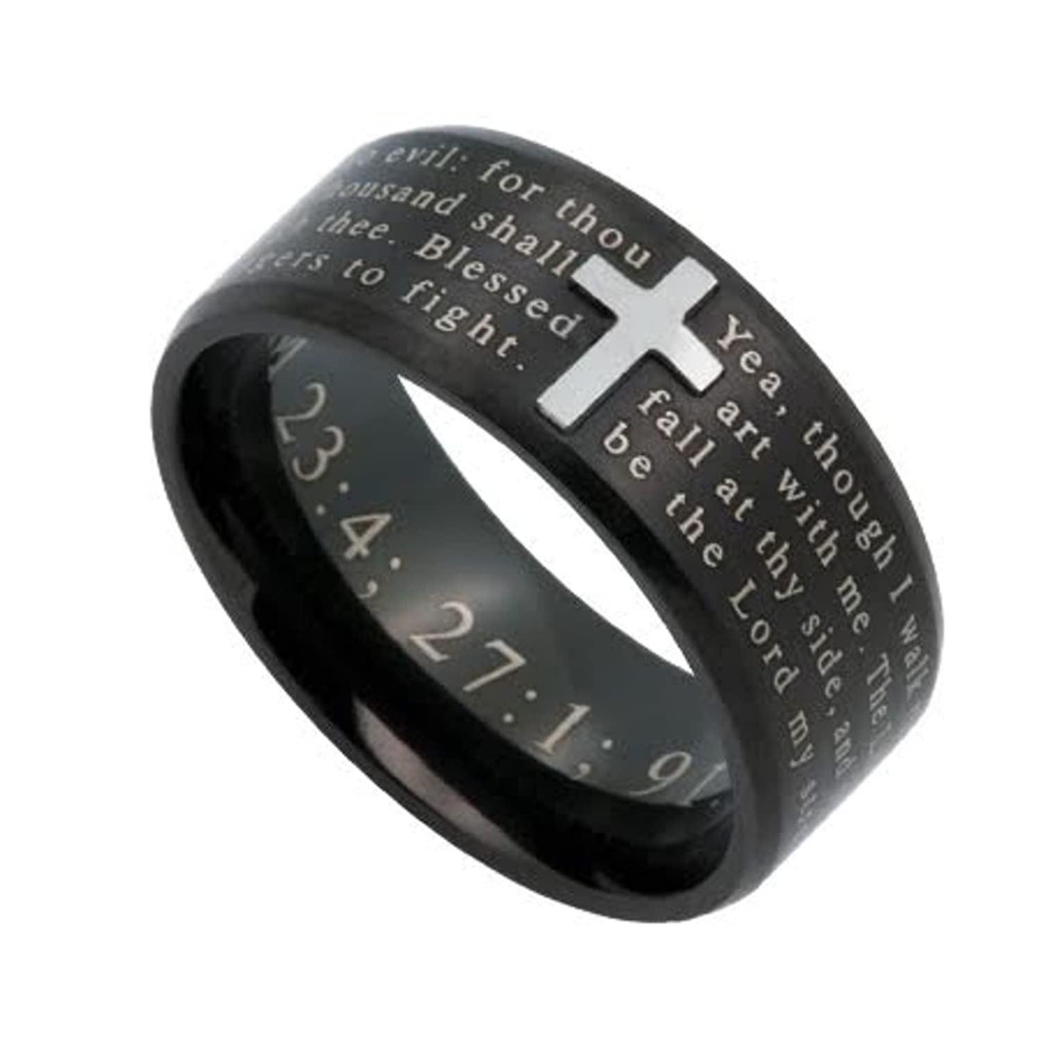Amazon PSALM 23 4 Jewelry Cross Ring For Men Black Stainless