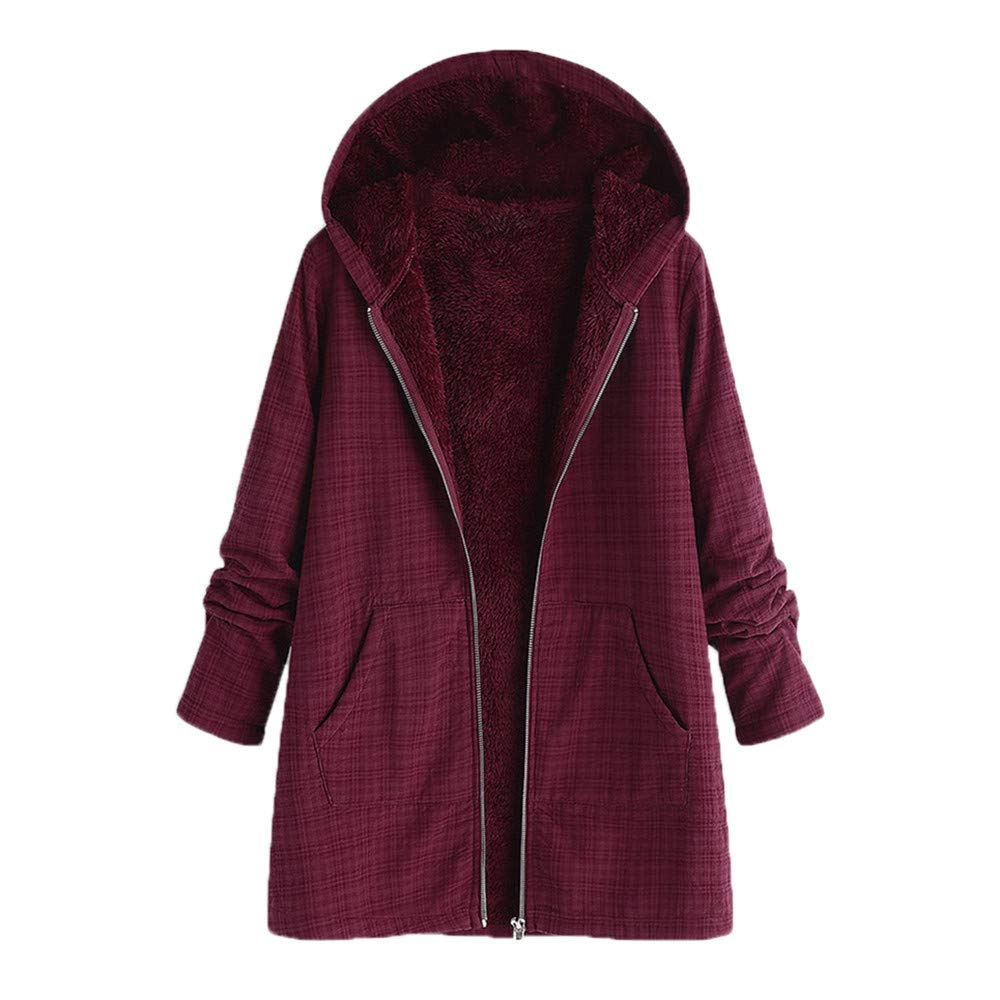 Ximandi Womens Winter Warm Outwear Lattice Hooded Pockets Vintage Plus Size Coats