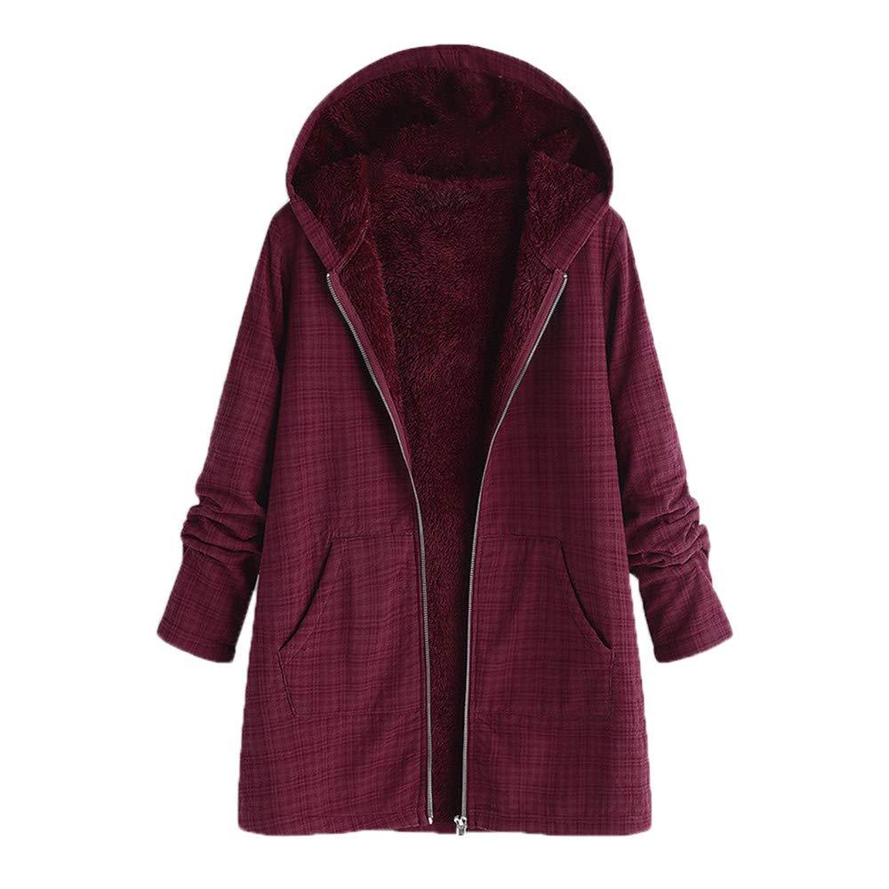 Oasisocean Women's Solid/Plaid Print Pockets Vintage Oversize Winter Warm Hooded Cardigan Jacket Overcoat Outwear Coat Wine